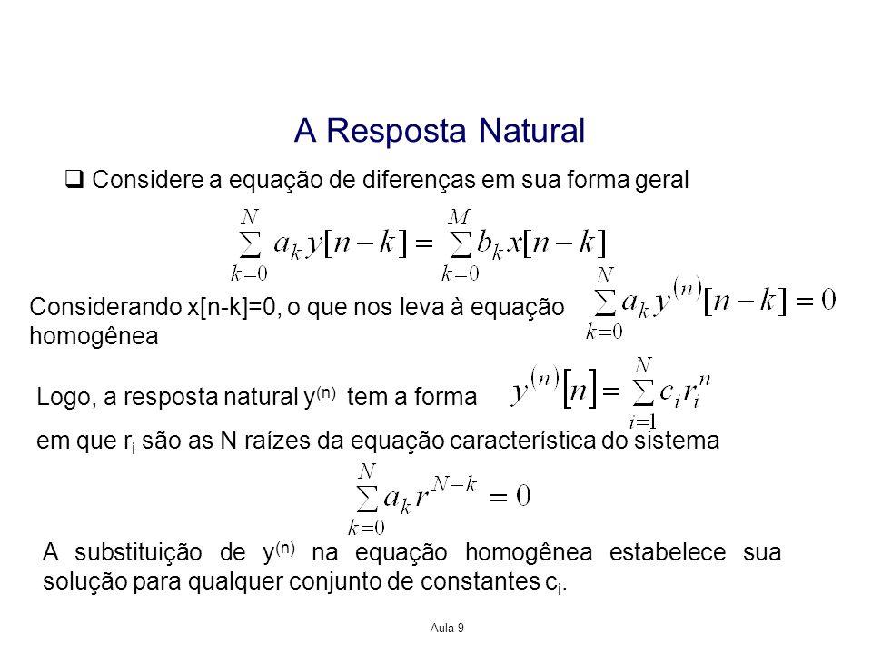 A Resposta Natural Considere a equação de diferenças em sua forma geral. Considerando x[n-k]=0, o que nos leva à equação.